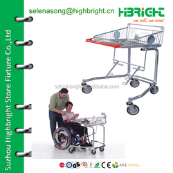 Disabled shopping trolley to connect with wheel chair