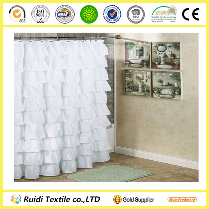 Wholesale White Ruffled Bathroom Shower Curtain