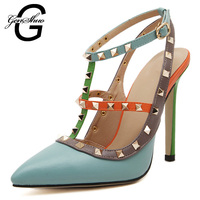 Big Size Shoes Women 2016 Pointed Toe Rivet Stud Sexy High Heels Pumps Multicolor Summer Style Woman Shoes