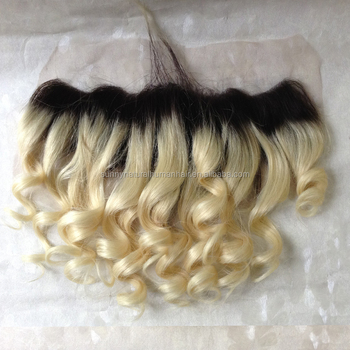 1b/613 ombre lace frontal with baby hair loose curly Brazilian 13x4 full lace frontal closures human VIRGIN hair