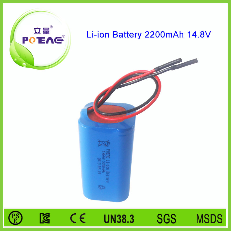 CE approved 18650 rechargeable 2200mah 14.8v li-ion battery pack
