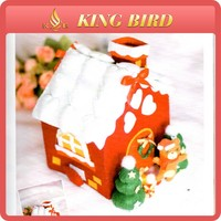Beautiful christmas house thick felt fabric on sale