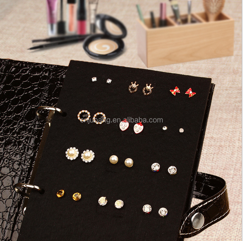 Portable Pu Leather Earring Holder Organizer / Jewelry Display Case with Foldable Book Design / Jewelry Storage Case