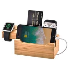 Bamboo USB Charging Station Wooden Docking Station Desktop Organizer Docking Station For Smartphone Watch Earphone