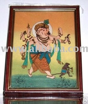 Ganpati Ganesha walking with his Rat, Gem Stone Art Painting