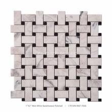 Century Mosaik Neue Ankunft Basketweave Mist Weiß Mosaik Fliesen