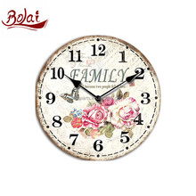 Custom colors appearance of flower and butterfly cover wooden wall clock for bedroom