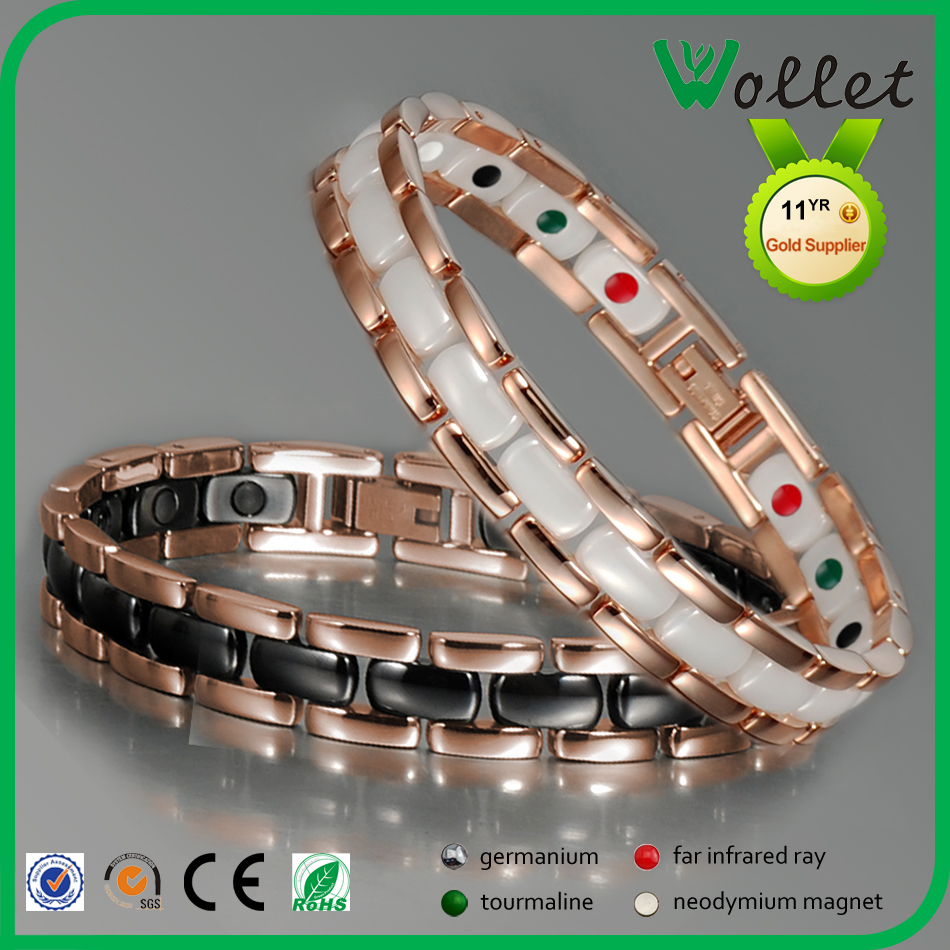 Wollet High Quality Stainless Steel Ceramic Magnetic Energy Bracelet