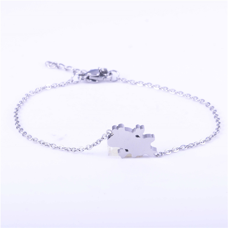 Elegant silver jewelry crown with diamond stainless steel bracelet for women and girls