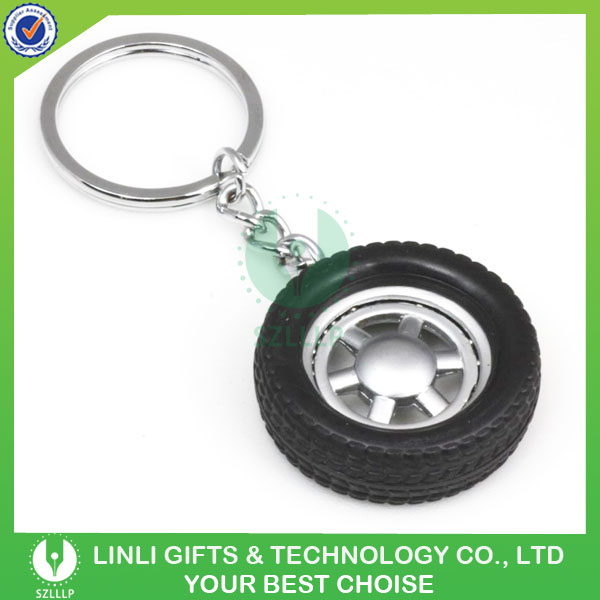 Promotional Custom metal Rubber Tire Shaped Keychain Wholesale