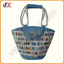 beach hangbag with printed and coarse rope handler