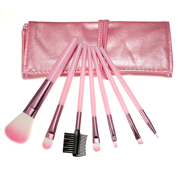 Factory Wholesale Wholesale 7 Pcs Cosmetic Makeup Brush Set Foundation Eyeshadow Eyeliner Make Up Brushes With Leather Case