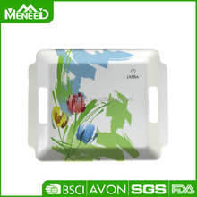 Flower print serving tray rectangle plastic planter trays