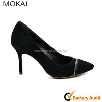 MK037-11 BLACK leather suede shoes women new design high heel shoes wholesale women fashion shoes