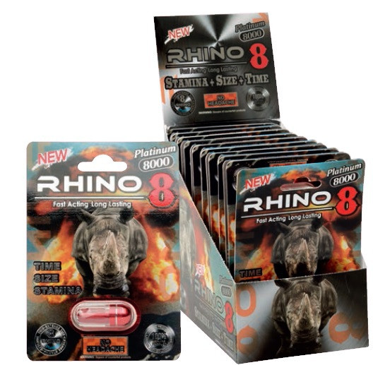 Black Rhino 8 Platinum 8000 Male Libido Sexual Enhancer Pill blisters/boxes for men
