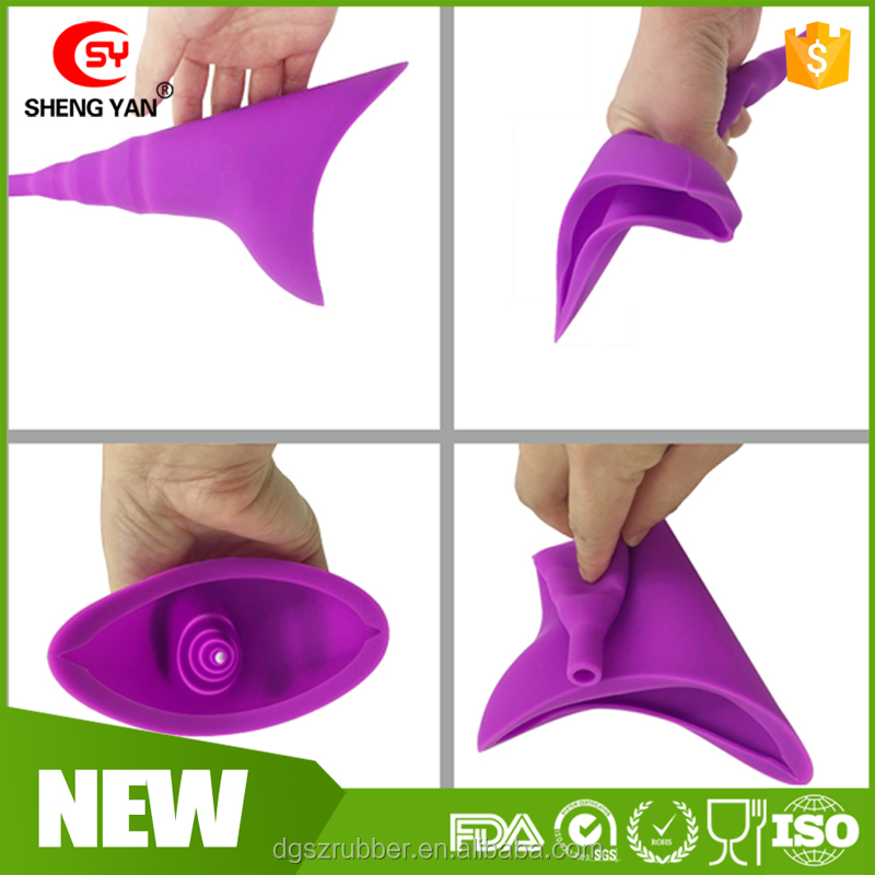 Reusable Lady lengthen 100% FDA Silicone Stand Up Pee Urinals , Female Urination Device,Portable Women Urinal