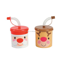 7 oz. 200ml Fashion Custom Cheap Plastic Cheery Christmas Sipper Cups with Lids and Straws for Wholesale