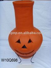 clay pumpkin chimney with metal stand