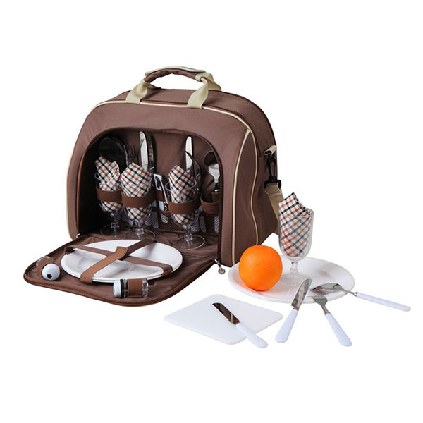 Shoulder picnic bag with 4 Person Cutlery Set and cooler compartment