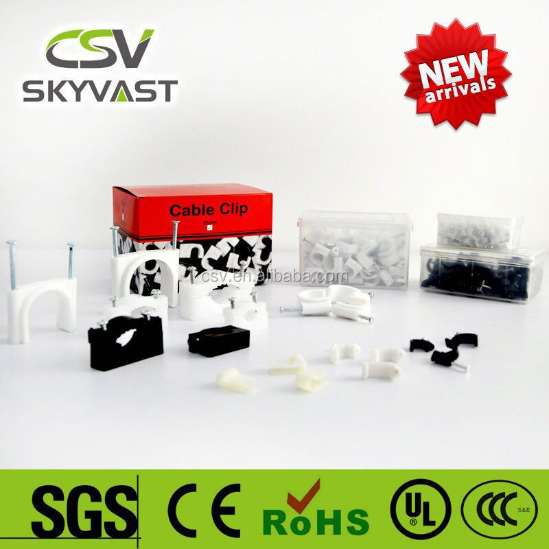 free samples CSV PE white black saddle cable clip (3mm to 40mm)