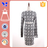 Fashion Fitted White Black Print Long sleeve Cheap Price Strength Milk Silk Dress