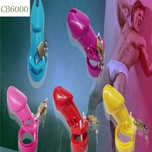 Male Chastity Device Colored plastic Male penis lock Cock Cage With Brass Lock Chastity Lock/Belt Adult Game Sex Toys 100*40mm