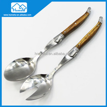 wholesale olive wood handle stainless steel flatware salad spoon set