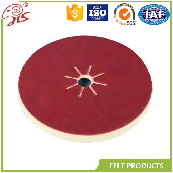 Embossed wool fiber sanding disc