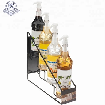 OEM wall mounted kitchen bottle metal holder display stand