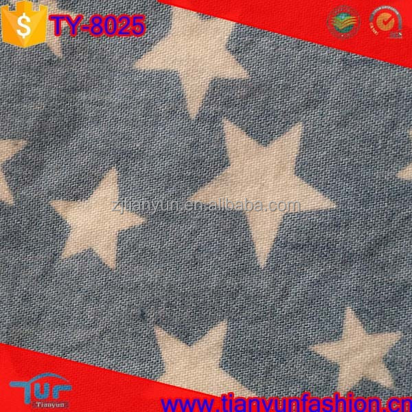 hot sales tulle organic cotton twill star printing japanese denim fabric