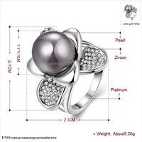JKL030 Fashion Natural Pearl Stud Zircon Alloy Jewelry Ring