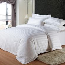BV certified white 4pcs bedding sets hotel luxury linens,different star hotel linen set,hotel linen cotton stripe