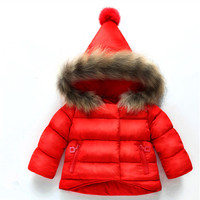 Girls hand tampons 2 - year - old winter boys and girls cotton-padded jacket children thickened true fur collar coat