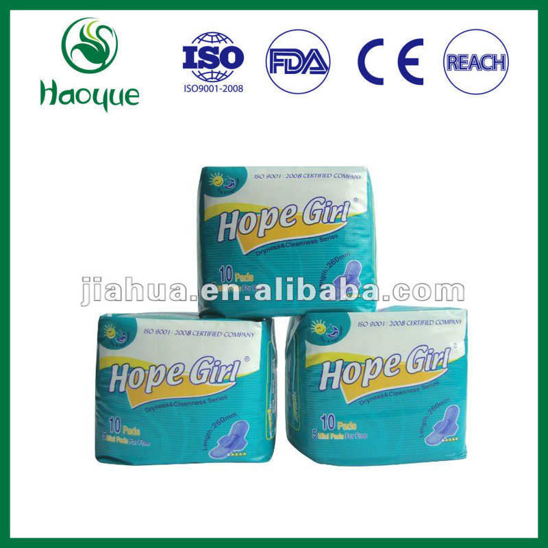 Dryness styles wide range full cove three strips PE top sheet Sanitary Napkinswith Leakage Guard structures for Female care