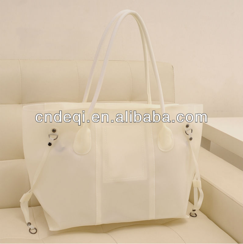 latest fashion jelly color clear PVC bags,waterproof handbags,beach bags