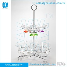 2 Tiers Acrylic Christmas Decoration Display Rack Supplies Hotel Equipment Cateing Acrylic Serving Tray Buffet Stand