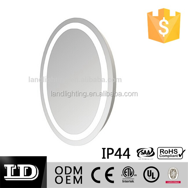 SAA CE IP44 5MM Thick Oval Shape Illuminated Bathroom with defogger horizontal fixing