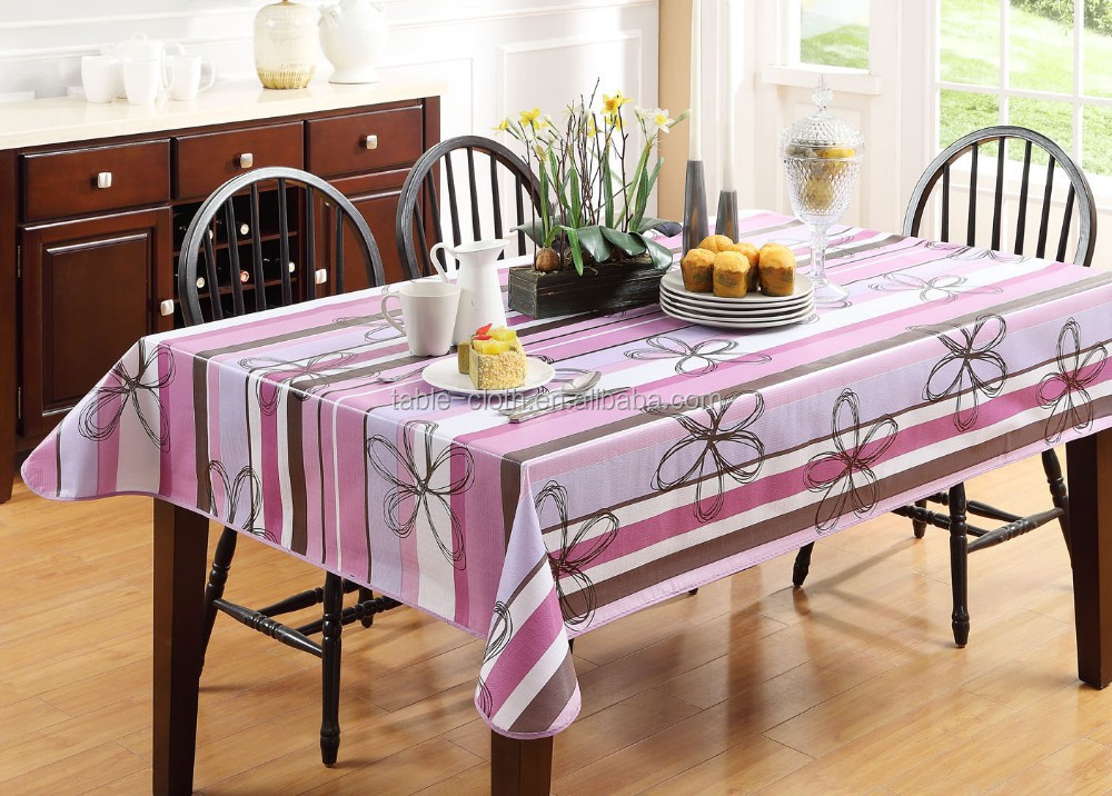 eco-friendly printed PVC table cloth with flannel backing, stitched edge, house and daily using table cloth
