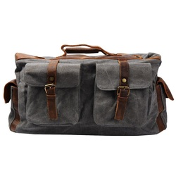 Fashionable waxed canvas bag leather travel luggage
