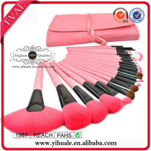 Yihuale Pink wood handle Synthetic and Pony hair makeup brush set