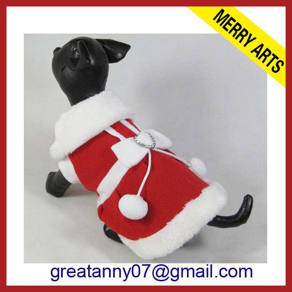 Wholesale Cat Accessories Pet Dress for Rabbit Red Christmas Dog clothes With white big ball