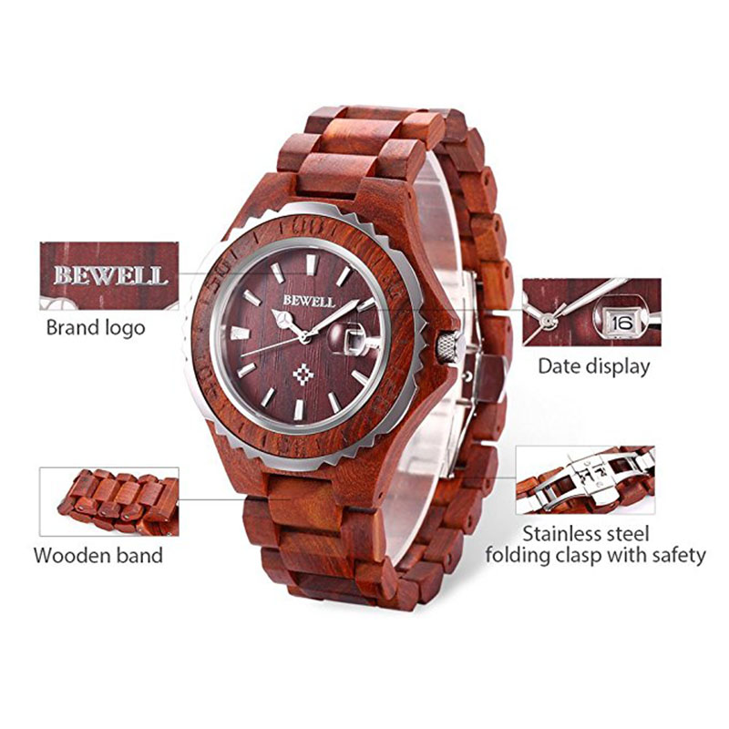 Hot selling new design model BEWELL wooden watch stainless steel bezel quartz wood watches