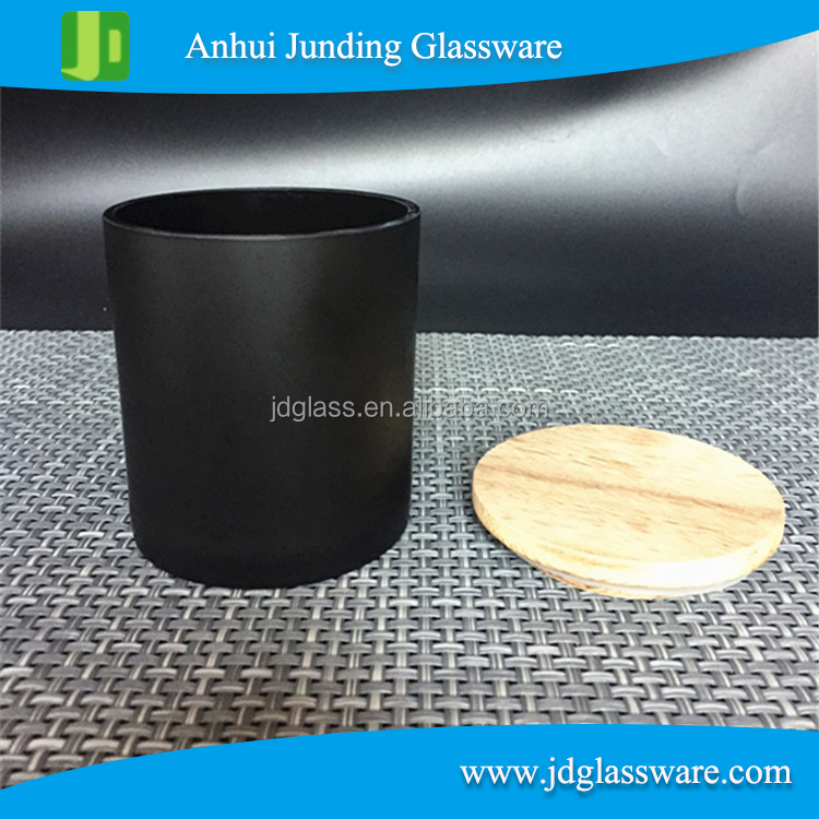 Matte black glass jars Tealight Candle Holder Glass jar with Lid Cover Wholesale