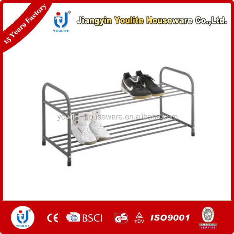 two layer steel wrought iron shoe rack