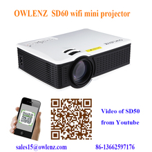 "OWLENZ 1500 lumens led MINI WIFI projector with 40-150"" projection screens"