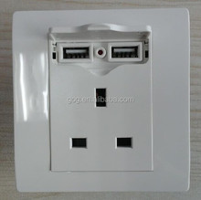 China manufacturer UK electrical socket usb 220v outlet 3 pin USB wall sockets outlets