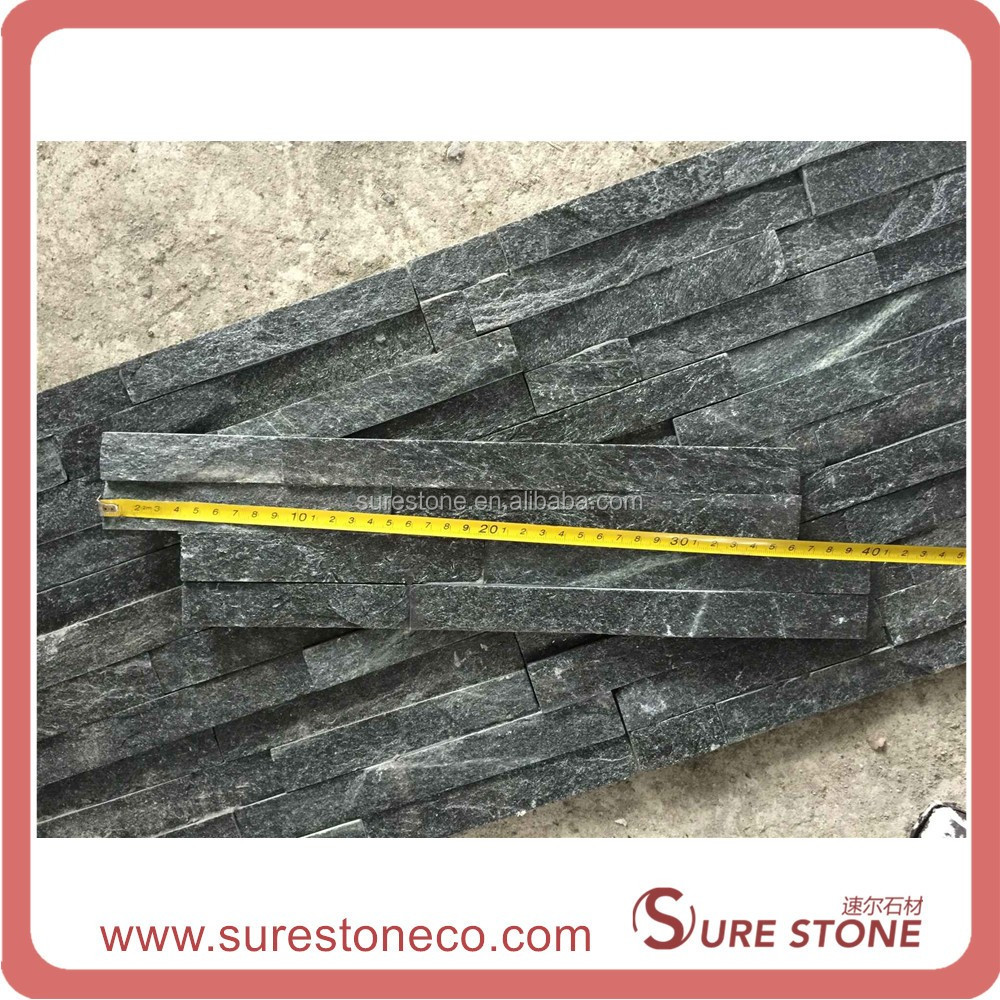 Split Black Quartzite Exterior Wall Stack Decorative Stone for the face of homes