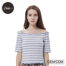 one word collar mini stripe short sleeve top women's blouses