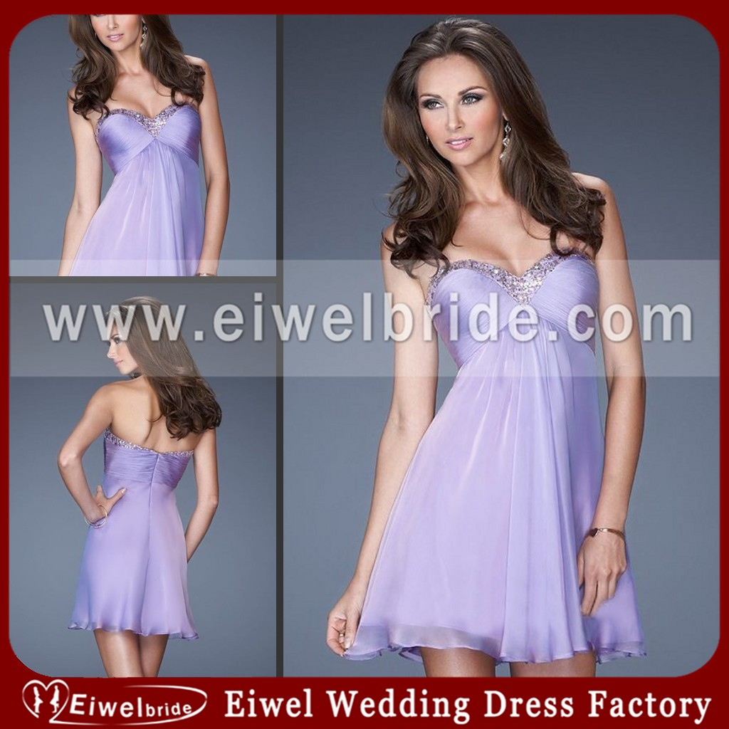 19475 Glam Lilac Strapless A-line Chiffon Asian Prom Dress