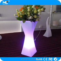 plastic vase /plastic pot .LLDPE waterproof shell and flash led light to decorative your garden